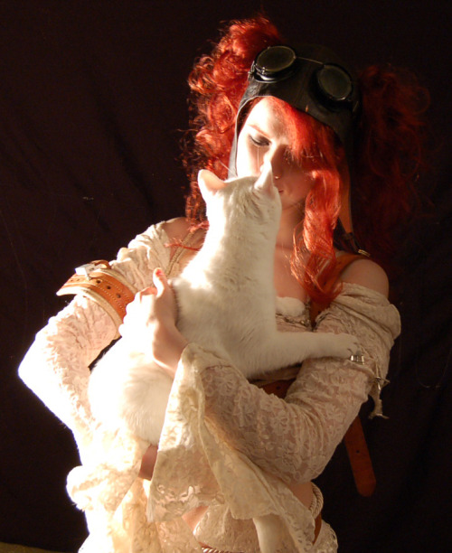 Outtake with cat.  From an Abney Park promo shoot.