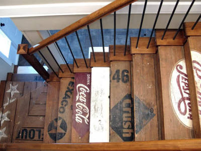 grandvisions:  Reclaimed wood stairs.  Amazing charm.