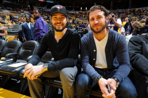 thelosangeleskings:  Drew Doughty & Mike Richards at Lakers vs. Thunder Game 3  Another photo from the Lakers game of Drew and Mike.