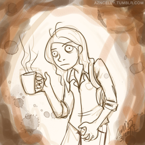 """I like my coffee hot with lots of sugar.""  aaaand, no she's not grabbing her crotch. She's just twitching from the caffeine."