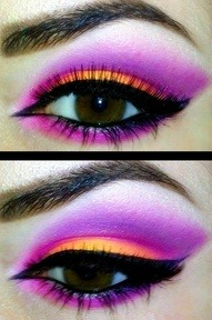 Neon eye shadow.