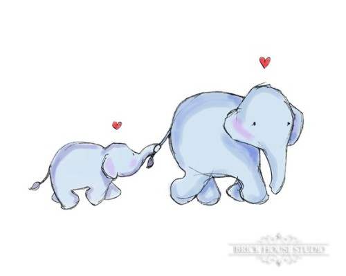 effyeahelephants:  Mama Elephant and Baby by BrickHouseStudio on Etsy
