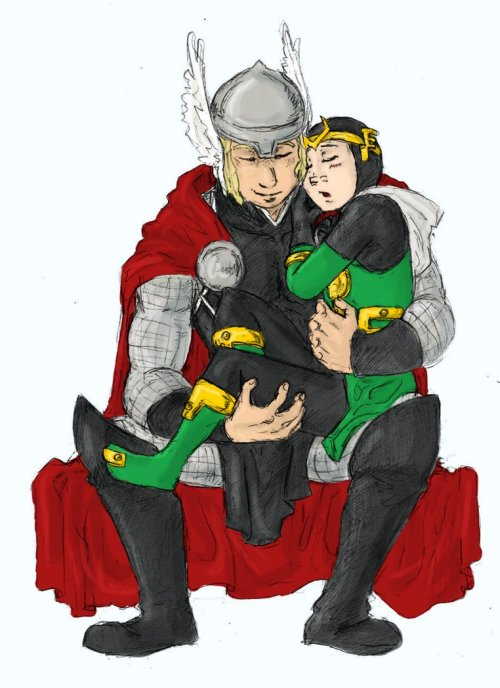ncisisraeli:  OMG OMG OMG KID LOKI! This pic is soo cute. I found it on deviantart, thought I would share. What a cute little Loki and protective Thor.  OP didn't bother to add a credit, which is rude and really lazy The artist did a good job with this and they deserve to have credit for their hard work. This cute picture is by LadyNorthstar at deviant art (I've added a click through link to the picture as well)
