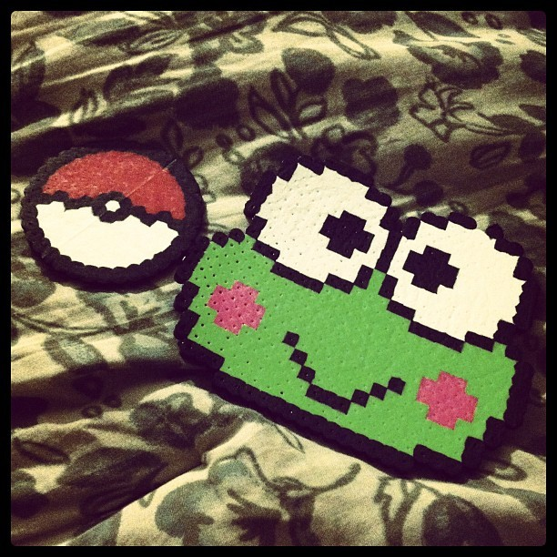 Esha made a #pokeball for me, and a #keroppi for Maggie with #perlerbeads. 😄💚 #perler #beads #artsandcrafts #art #friend #bestfriend #friendship #love #instagram (Taken with instagram)