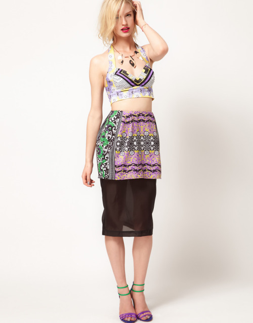ASOS AFRICA Sheer Pencil Skirt With Printed PeplumMore photos & another fashion brands: bit.ly/JgOKKh