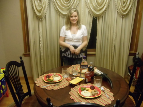 Here is a picture of me with everything that we bought, and the dinner that I made :) I included my Viking Drinking Horn in the picture. Was a gift for my 21st birthday! (The official drinking age here in the US! ;))