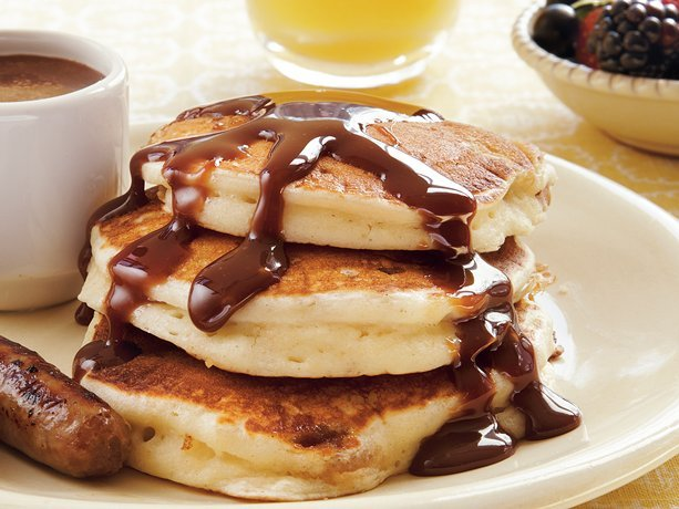 Pecan Pancakes with Fudge Syrup