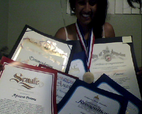 I won these awards tonight! I have been recognized by the Chatsworth Community Coordinating Council, the California Senate, the California State Assembly, the California Legislature, the Los Angeles Board of Education, the Mayor of the City of Los Angeles, and the County of Los Angeles for my community service work. I am so honored. I'm so so soooo happy!