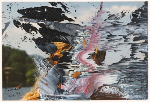 fckyeaharthistory:  Gerhard Richter - Untitled 4/1/91, 1991. Oil paint on chromogenic print  From the Metropolitan Museum of Art, NYC:  In the 1980s Richter began squeezing pigment abstractly across canvases he had already painted in his photorealist manner, suggesting that representation and abstraction are merely interchangeable codes. More recently, he has made a number of small works that state this proposition with remarkable clarity: he squeezed paint directly onto original photographs-his own color snapshots of his art, his travels, and members of his family. These modest pictures neatly sum up the artist's problem: how to borrow photography's poignant time-bound veracity without deserting his calling as a painter.