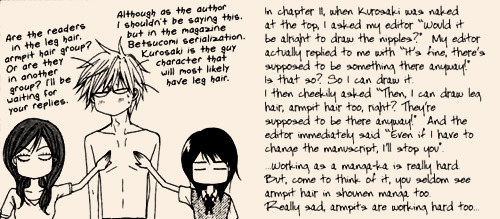 putthatanimebackwhereitcamefrom:  Motomi Kyousuke's opinion about drawring leg and armpit hair