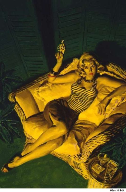 "driveintheaterofthemind:  ""Branded Woman"" by Glen Orbik  I love pulp novel art so much <3"