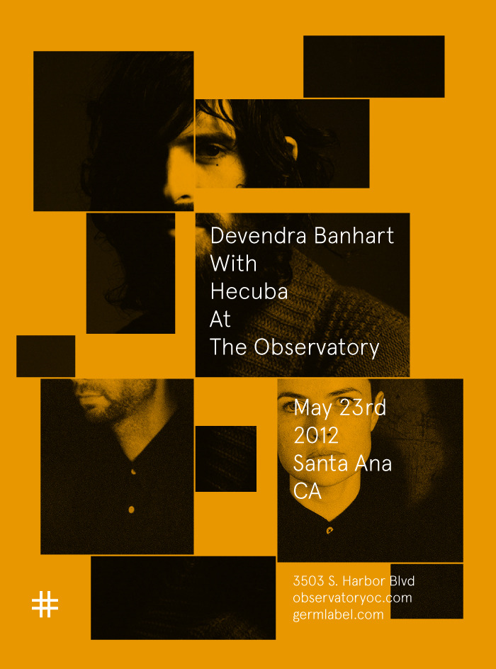 germlabel:  Devendra Banhart with Hecuba at The Observatory in Santa Ana on May 23rd INFO > (SOLD OUT)