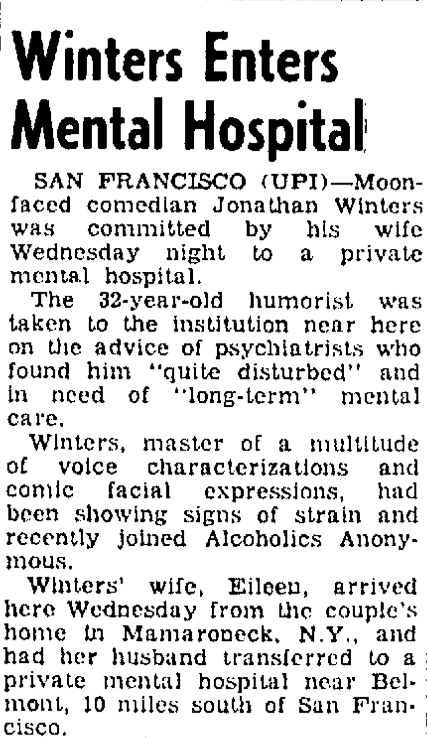 JONATHAN WINTERS COMMITTED TO THE MENTAL ASYLUM