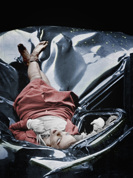 jarrodis:  On May 1, 1947 Evelyn McHale leapt to her death from the observation deck of the Empire State Building. She had landed supine on a parked limousine and came to rest in an attitude that suggested peaceful sleep. The photo is often referred to as 'The most beautiful suicide'.Photographed by Robert Wiles.