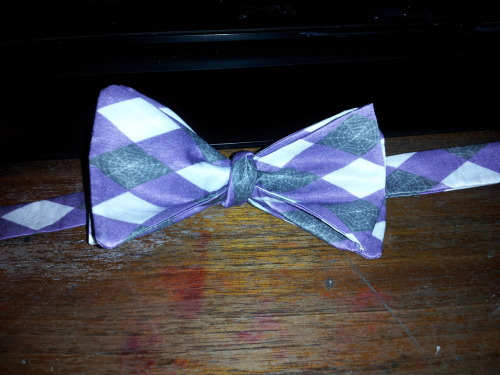 Not exactly a stunning picture, but eh. One of the various bow-ties I will have on sale at Fanime! This has a purple, black, and white argyle pattern with a spiderweb motif. :D I'm considering doing another run of these in red for Anime Expo.