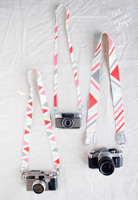 Camera Strap | Design Love Fest A while ago I tried to make a strap for my camera from some fabric I loved. It was a disaster. It was a tube that you invert but my less than stellar sewing meant it became all puckered and miss-shapen. Yikes. This kind of strap is much more up my alley - plus minimal sewing! - and I can decorate it with graphic triangles that are everywhere right now!