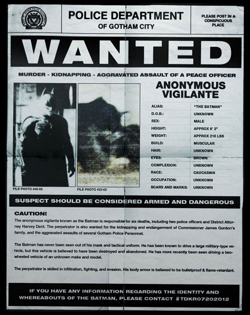 DARK KNIGHT RISES Wanted Poster | Collider