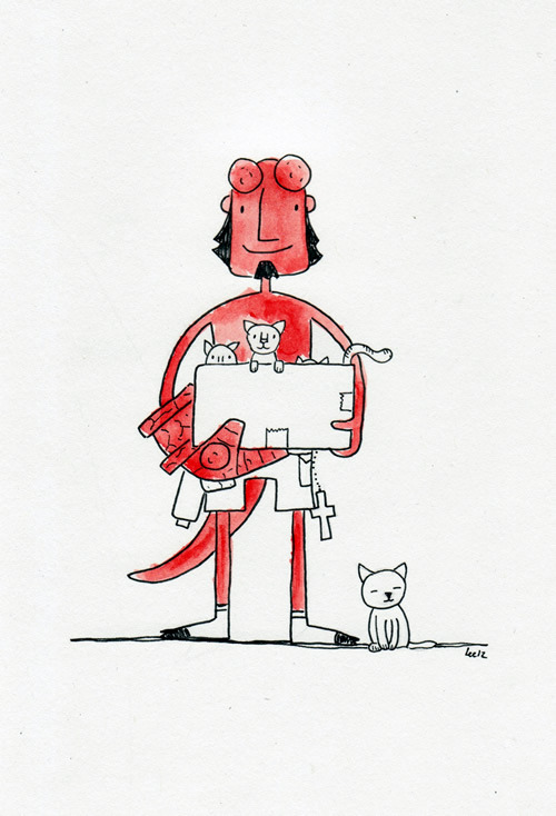 Hellboy and his hell kittens. (part of the Superhero pets series) You can put this on your iPhone!!!