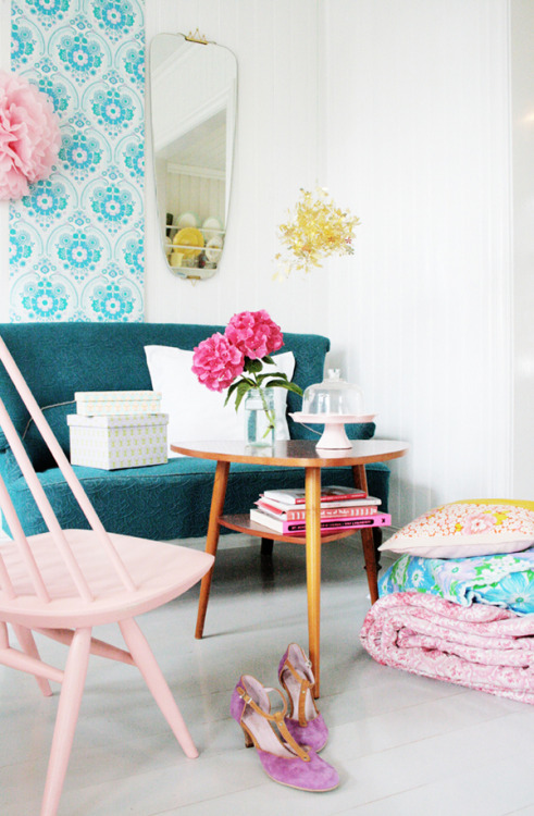 Bright pastels enliven a white room (via FRYD DESIGN: // INTERIOR FALL 2011 KK)