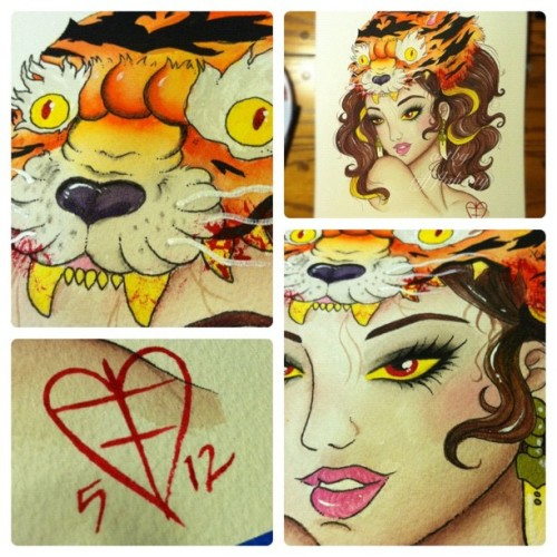 Details #watercolors #painting #art #girl #tiger #nofilter (Taken with instagram)
