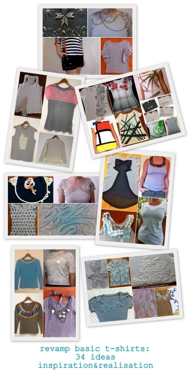 DIY Roundup of Thirty Four Tee Shirt Restyle Tutorials by inspiration & realisation here. *They are broken down into categories with links to each tutorial at Donatella's site.