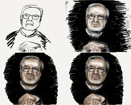 "Maurice Sendak : Four steps to a tribute The creator of ""Where the Wild Things Are"", Maurice Sendak, passed away on may 8. As the news was spreading over the web, sketchylefty called for homages made with the Paper app on his tumblr.  His call sounded like an interesting and motivating challenge to meet with the Paper app. As soon as I read the note on tumblr I looked for Sendak pictures on Google and printed one. As usual, I looked for close-up pictures, since the app does not provide a zoom option to draw accurately small details (it's a part of its charm, however). Then, I began to draw quite quickly, hurried by the call. So much so I forgot to save work in progress pictures (I did only 3 times) and finished the sketch in about 2 hours. Promised, the next sketch will be far more detailed (it will be presented here next week). As you can see, the first step was done using the foutain pen again, instead of the pencil. But very slowly, allowing to draw thin and sharp lines. I included ""raw"" hands, just in case : I even expected to erase them later because hands and ears are often the most difficult body parts to draw (and I didn't want to spend the night on it). But I finally achieved them, with pencils, and ""cleaned"" the background using the eraser."