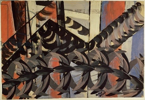 steroge: Giacomo Balla, Flight of Swallows. 'oil painting'