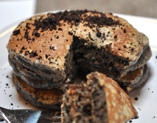 bakeddd:  oreo pancakes click here for recipe   I believe this should be illegal. *Snickers*