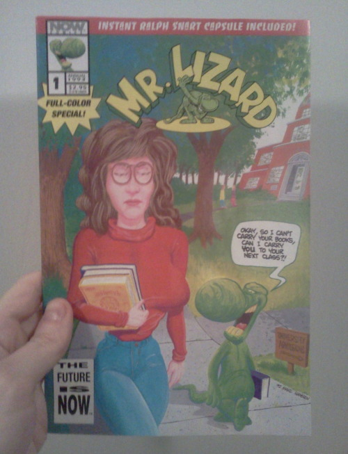 "Mr Lizard #1, Now Comics, 1993 This looked like a pretty cool find when I came upon it in the bargain bins (for 20 cents).  It was amazingly still in a polybag with an ""instant Ralph Snart capsule"" included (those sponge dealies that expand in water). So this is a spin off of the Ralph Snart series, created by Marc Hansen, that was relatively popular at the time.  I remember liking the Ralph Snart books, though I can't specifically remember much about them, aside from the funky/deranged/fun artwork.  Marc Hansen himself provided a top notch cover here, though the guts of the book where handled by a team of other people.   Unfortunately, this was a very uninspired read.  The issue tells the story of a single date that Mr Lizard goes on, by way of a ""Mr Lizard's Guide to Scoring With Hot Babes"" guidebook motif.  Pretty predictable, boring, unfunny stuff.  The Ralph Snart capsule that came included was probably the most exciting part. Gotta love that cover though!"