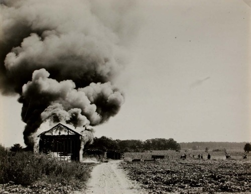 museumuesum:   Rosalie Gwathmey  Rocky Mount, North Carolina (Burning Tobacco Barn), 1943 gelatin silver print, 7 1/2 x 9 1/2 in. (19.1 x 24.1 cm)