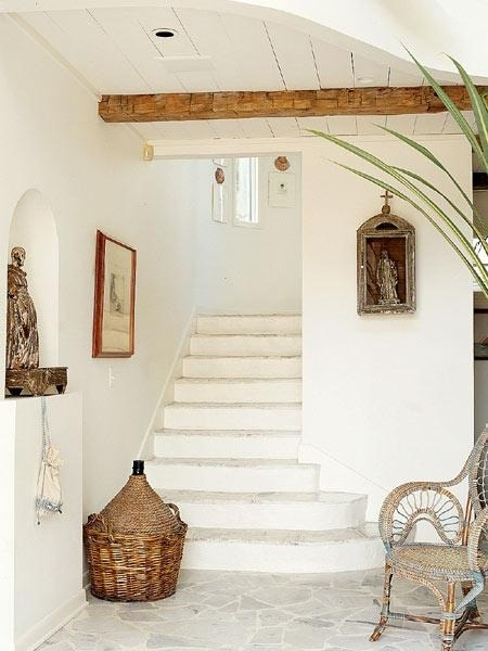 Rustic staircase and hallway.