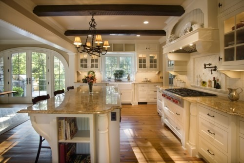 Cream and wooden kitchen.