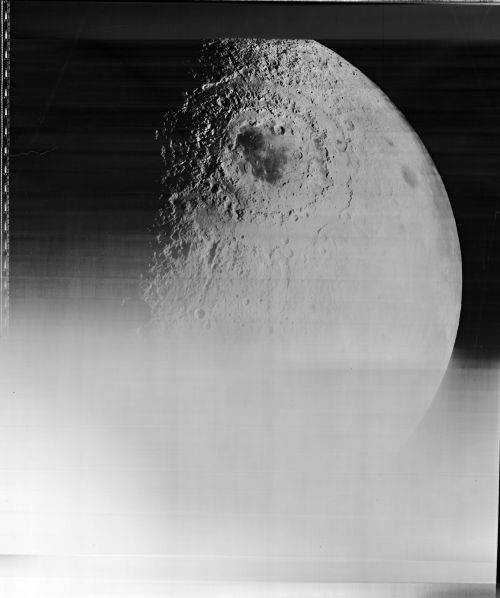 hush: The Moon, photographed by Lunar Orbiter IV, May 1967. I believe the large crater is the Mare Orientale on the south lunar farside (20°S, 265° E). Image credit: NASA/LaRC.