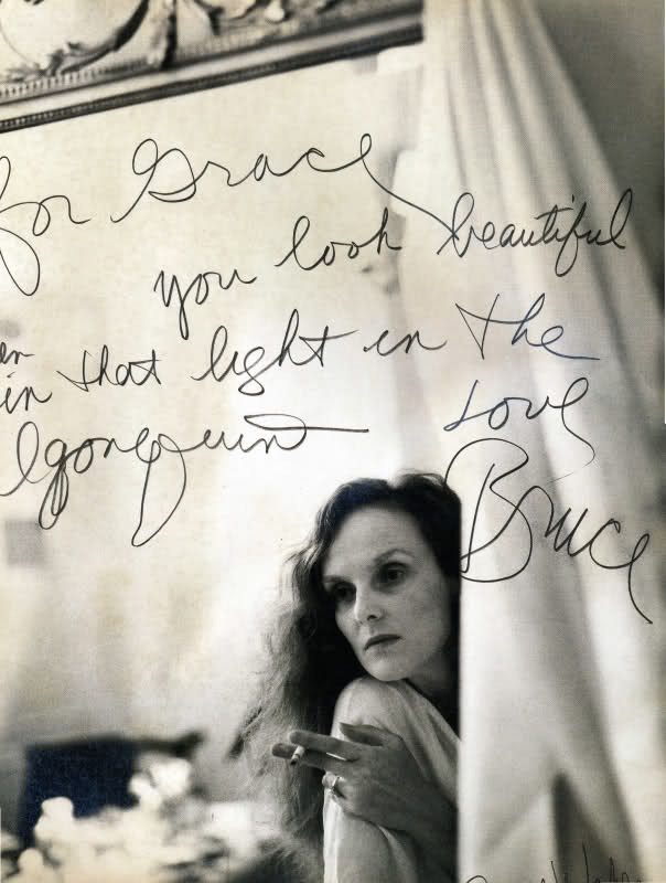 epcutler:  For Grace [Coddington], You look beautiful in that light. Love, Bruce [Weber]