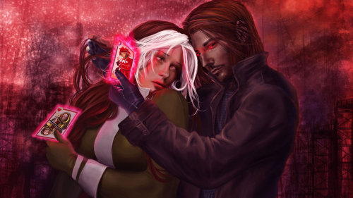 It's Comics Sunday! Gambit and Rogue are basically the Romeo/Juliet love storyline in the realm of the Marvel universe. If Romeo's family were a band of thieves and Juliet had a shapeshifting adopted mother who extorts her for her power-draining abilities. Ivanna Matilla did an amazing job with their facial expressions here. Rogue's worry but desire are clear as well as Gambit's reckless wanting.
