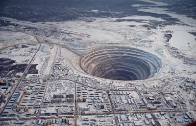 Minry Diamond Mine in Eastern Siberia is the second largest man-made hole in the world.