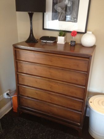 "mid-century lane furniture highboy dresser, $200, CHICAGO.  measures 36"" wide x 18"" deep x 44"" high.  solid wood.  features set of 5 drawers and molded pulls.  clean modern lines.  lack of space forces sale.   buy now!"