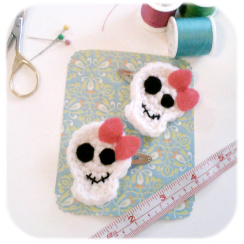 Rock out your 'do with these sassy skull barrettes! …from Henry St. Martin on Etsy
