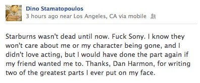 Dino Stamatopoulos aka Star-Burns on his Facebook this morning.