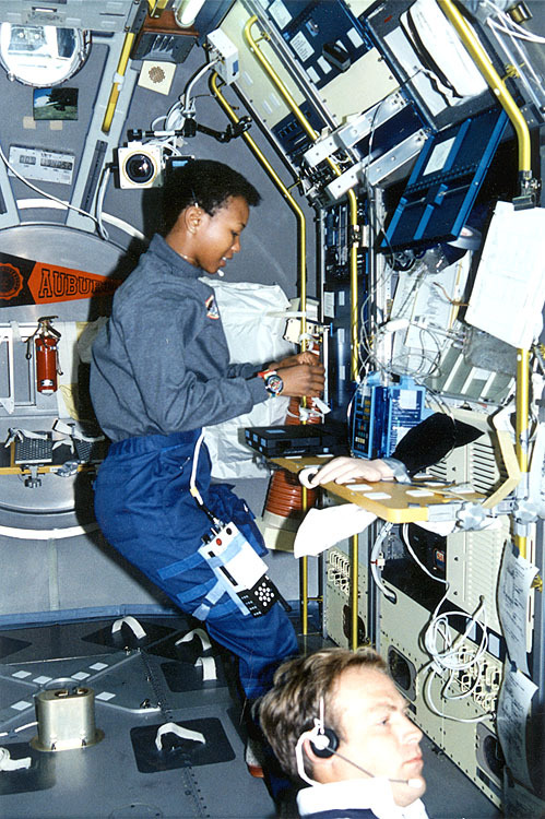 fuckyeahfemaleastronauts:  Mae Jemison in spacelab-J, while being photo bombed by Mark lee.