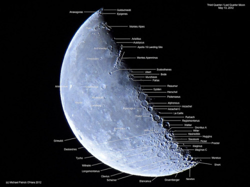 Third Quarter / Last Quarter Moon (Labeled) - May 13, 2012 by spacemike on Flickr.