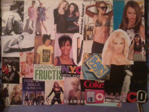 So this is a collage I made for a project in grade 8 of some of my favorite things…Henry Holland, Agyness Deyn, Gossip Girl, Britney Spears, Ugly Betty, Paul Griffiths/Babycakes, Edie Sedgwick, Hilary Duff, Miley Cyrus, Rihanna…. My tastes really haven't changed very much.