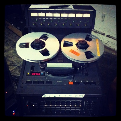 "We're recording a demo tape of 6 new songs in our makeshift all-analog home studio. This is our tape machine: 8 Track, 1/2"" Otari MX5050 w/ RMG911 Tape."