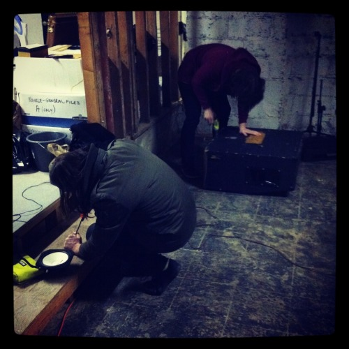 Tyler and Josh hard at work, building a Yamaha NS10 sub-kick microphone and fixing a speaker cabinet.