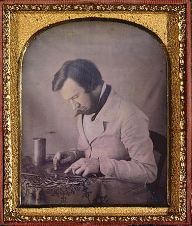 ca. 1850-61, [daguerreotype portrait of a tinworker working with a mallet, snips, compass, and metal cylinder], A. Bogardus via the Library of Congress, Daguerreotype Collection