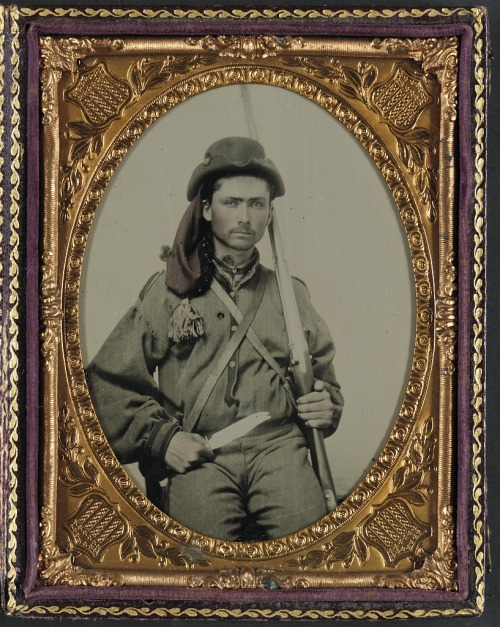 ca. 1861-65, [ambrotype portrait of a Confederate soldier in an infantry uniform with musket and Bowie knife]  via the Library of Congress, Liljenquist Family Collection of Civil War Photographs