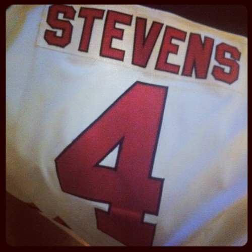 Ready with my @nhldevils Scott Stevens jersey purchased in 95 #BecauseItsTheCup (Taken with instagram)