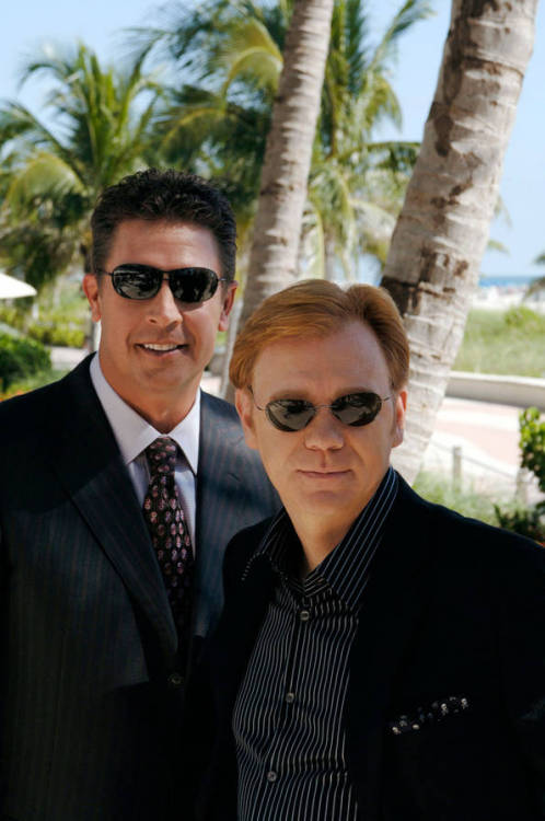 Former Miami Dolphins quarterback and NFL Today analyst Dan Marino and CSI: Miami's David Caruso at the Ritz-Carlton, South Beach