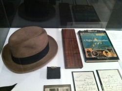 Hat worn by Titanic survivor. Ring believed to belong to Steward Thomas Hewett - a 21st birthday gift, this ring was found on his body by the Mackay-Bennett and it was returned to his family after his body was buried at sea. Cribbage board made of wood from the wreck of Titanic. An original copy of Walter Lord's A Night to Remember. Letters to a Mr. Hunter from Thomas Andrews Sr., regarding the loss of his son Thomas Andrews.