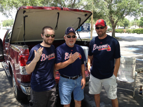 L to R: Shane, Rick and Korey, three generations of Braves fans over from Jacksonville and tailgating at the Trop.
